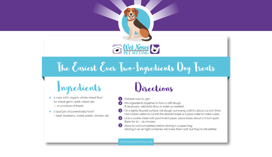 Easiest Ever Two-Ingredients Dog Treats Recipe Card