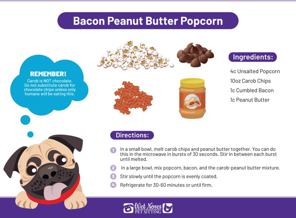 Dog Friendly Bacon Peanut Butter Popcorn Recipe Card